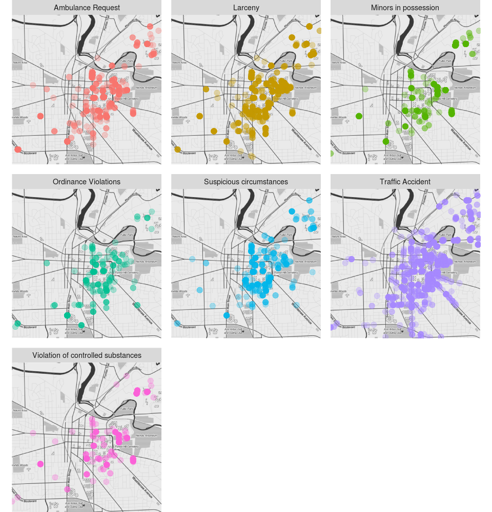 Ann Arbor Reports Mapped by Location and Type